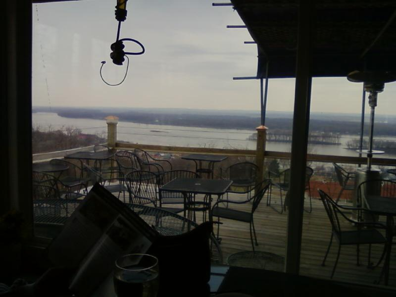a gray, cold day high above the Mississippi River