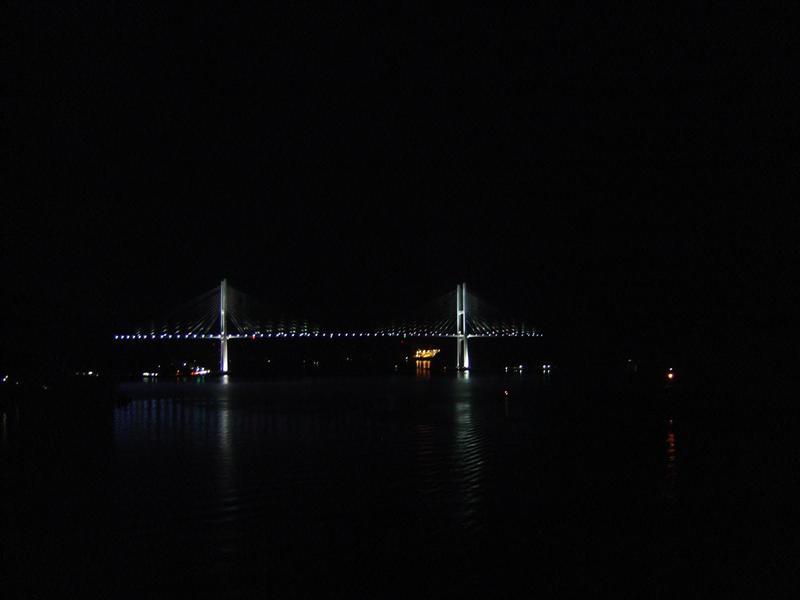NAGASAKI - Megami Ohashi Bridge -女神大橋 at night.