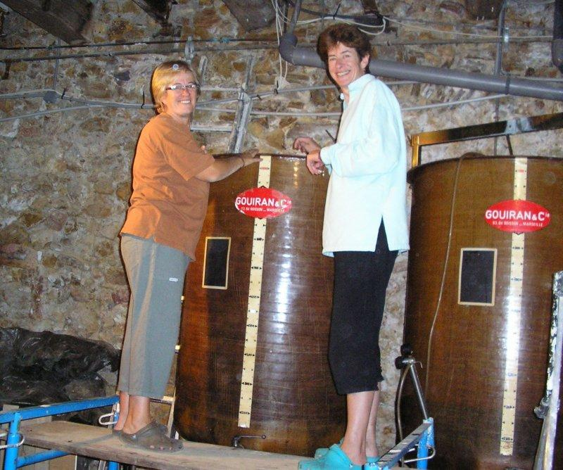 .. and its juice is inspected by Ali and Lizzy, the vigneronnes....