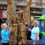 We met up with Tom and Beth, and along La Rambla we met an angel.....