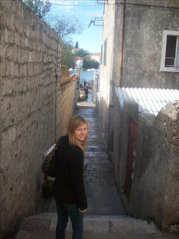 "Jess walking down our ""street"" :S"
