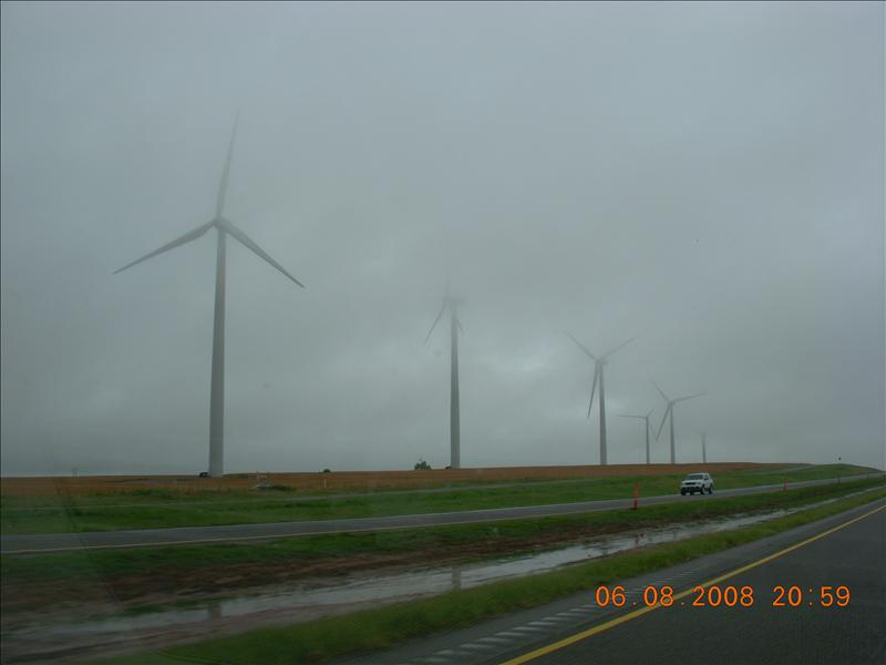 windmills in Texas on a very rainy morning