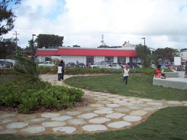 Kentucky Fried Chicken sits right in front of the main promenade  - previously on the edge of an inshore reef, it now has a playground at its door and an endless tide of people stopping by
