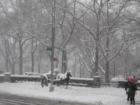 central park during snow storm