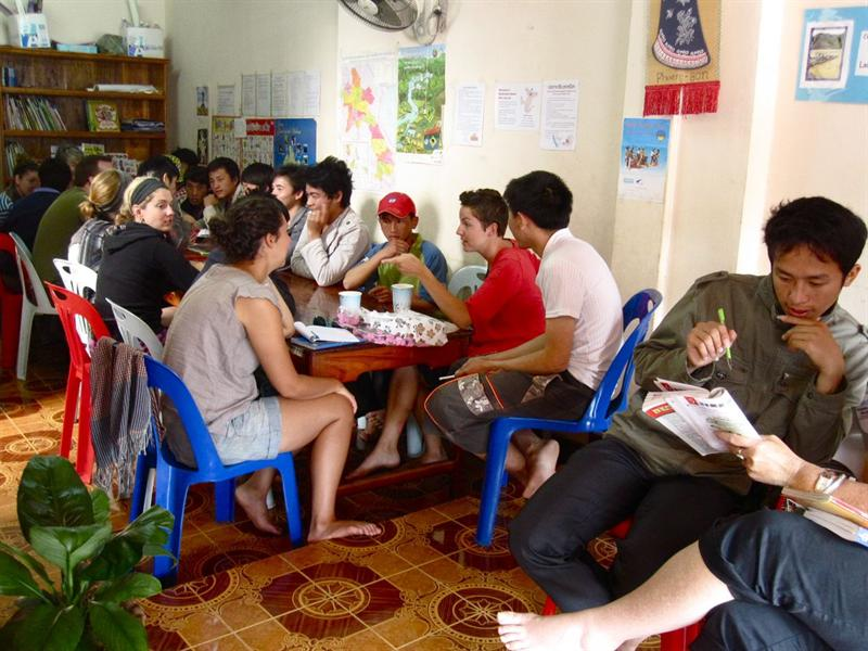 Volunteering to teach english to local Loa people.