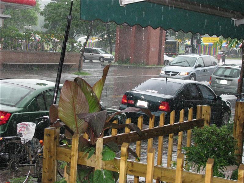 het regende nogal