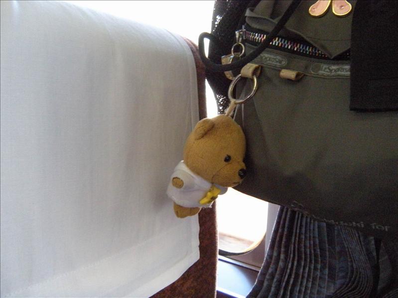 老婆的背包吊飾  本來是吊阿扁娃娃  現在改吊小熊  還是動物單純啦