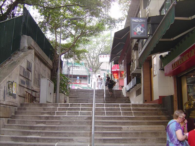 """Ladder street"" leading to Hollywood Road"""
