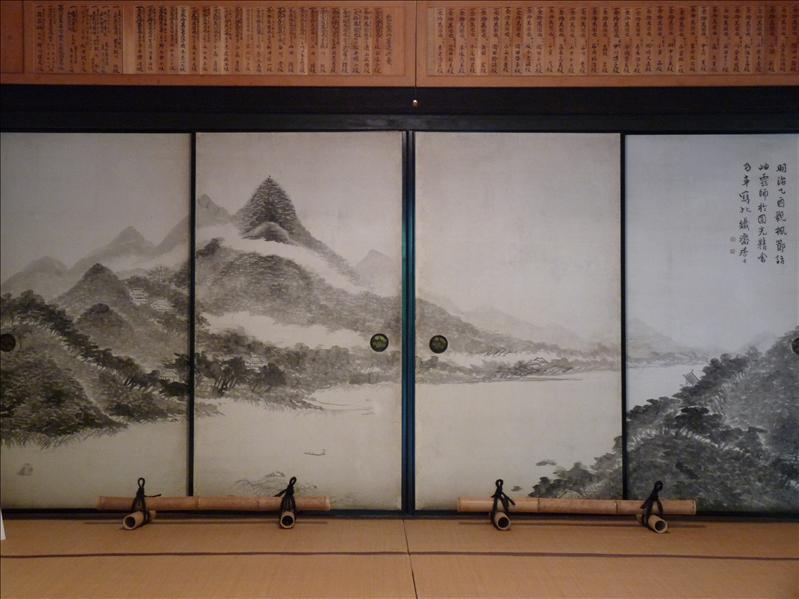 nice painted sliding door at Enkoji temple