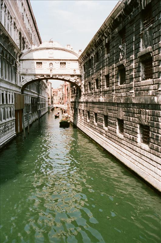Ponte dei Sospiri - the Bridge of Sighs.It passes over the Rio di Palazzo and connects the old prisons to the interrogation rooms in the Doge's Palace  buildt in 1602