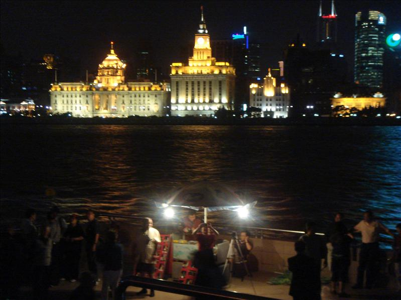 "view of the Bund from the other side of river ""Pu"""