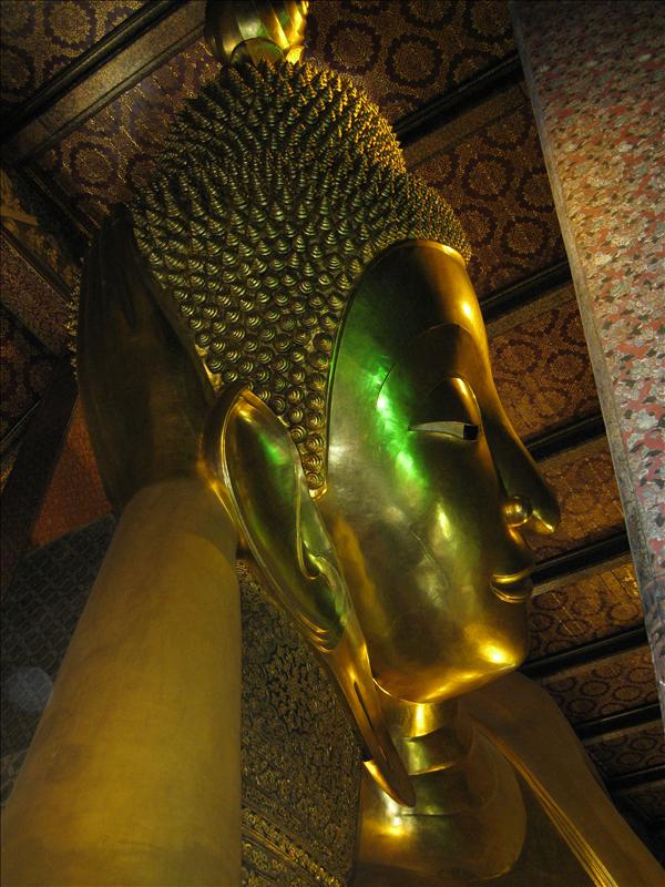 Wat Pho - home of the largest reclining buddha, 46 meter long and 15 meter high.