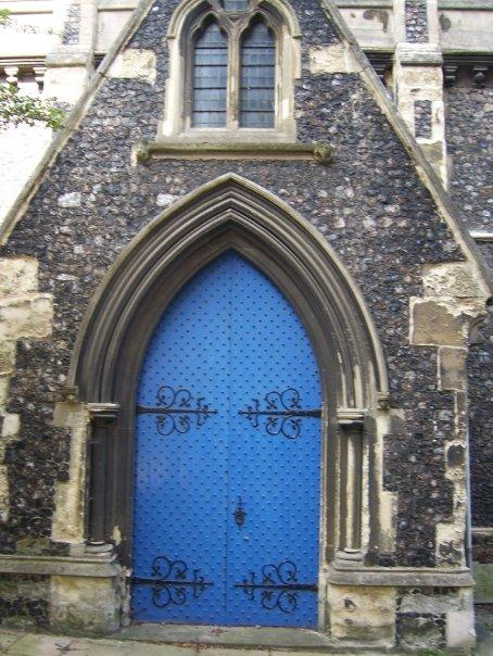 Beautfiul blue door to the church.
