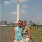 Neils and Lucinda infront of National Monument,Jakarta,Indonesia.