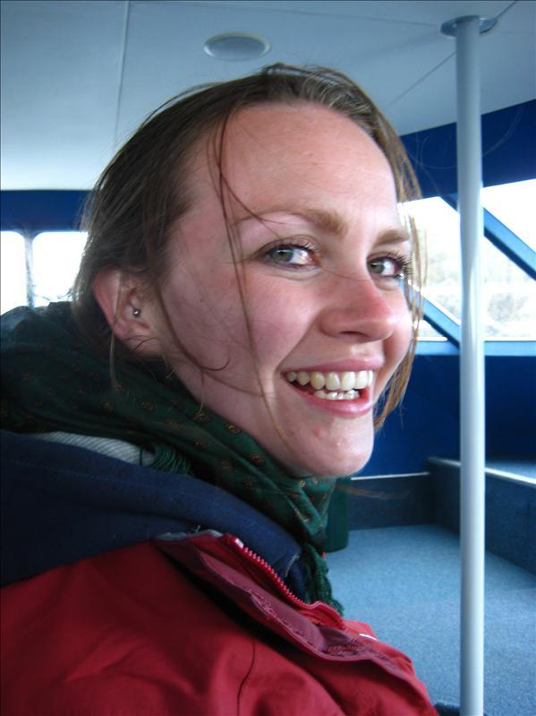 Jenn after a VERY windy boat ride!!