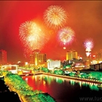 fireworks on the Pearl River downtown
