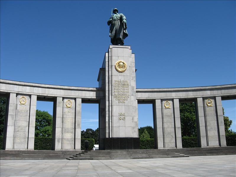 Soviet War Memorial in Tiergarten, made with marble from Hitler's offices