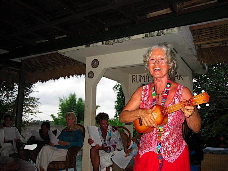 Julie doing xmas sing-alongs