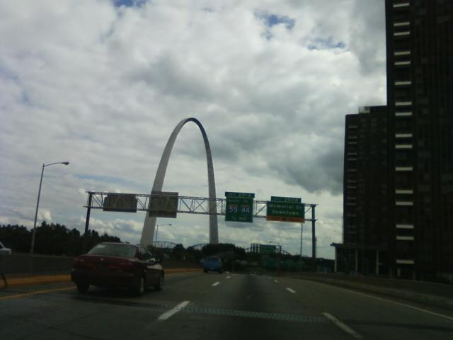 southbound on I-70 is downtown St. Louis