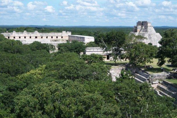UXMAL, YUCATAN - NUNNERY QUADRANGLE AND PYRAMID OF THE MAGICIAN