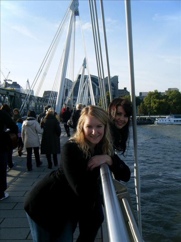 a pose on the walking bridge