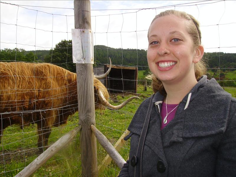 Chel with Hamish the Highland Coo