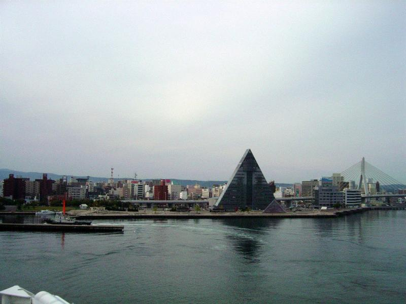 "The eye-catching pyramidal shaped Building ""ASPM"" which stands for Aomori Sightseeing Products Mansion . It is of 15 storeys high and 76m tall,a prefectural center for tourism and industry."