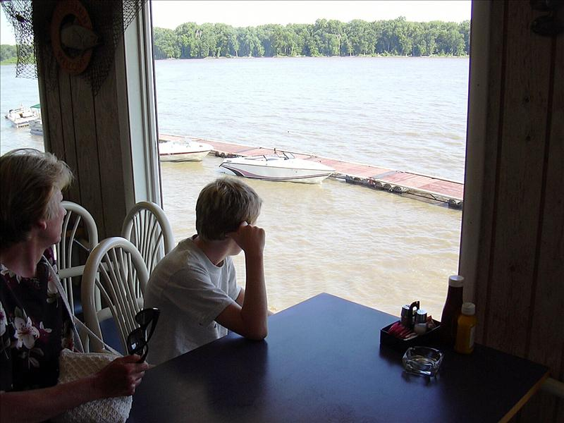 looking out from Kinder's Restaurant on the Mississippi