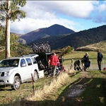 Near Nelson - preparing for helicopter ride up the mountain