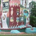 the base of the 90-foot totem pole