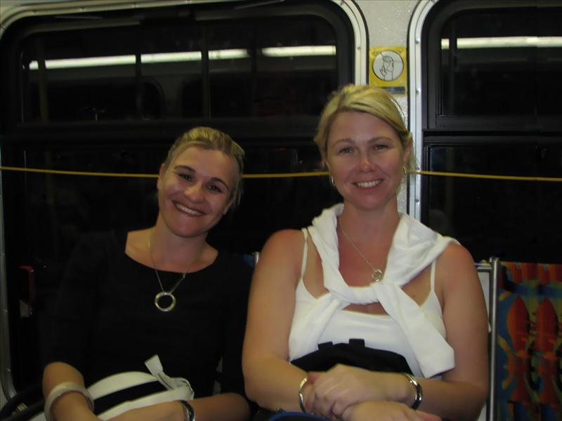 Lisa and Rachelle on the bus back to LA