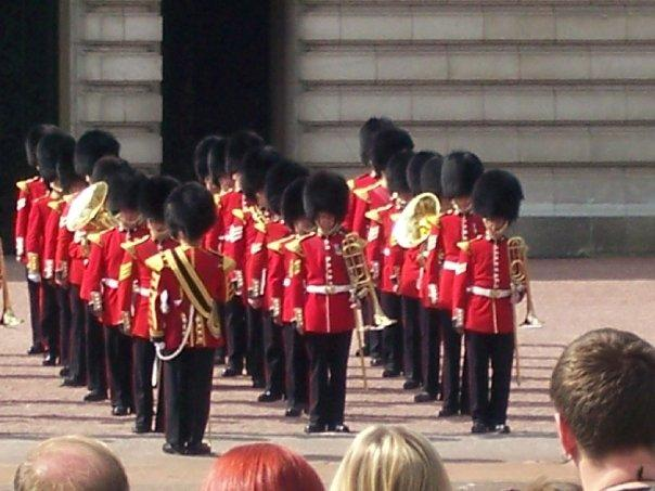 The guards doing their formation before the Changing of the Guards.