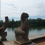 Lion guardians at the courseway at Angkhor Wat