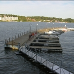 view of dock slips from a restaurant Salty Dog in Lake of the Ozarks