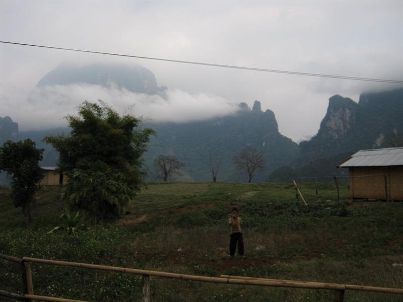 foggy and freezing next to the hot springs on the way to Luang Prabang
