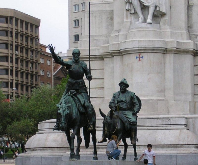 Don Quixote and his friend Sancho Panza look for the way out of Madrid.