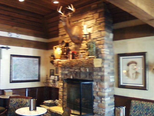 while you wait for a table, you see this fireplace