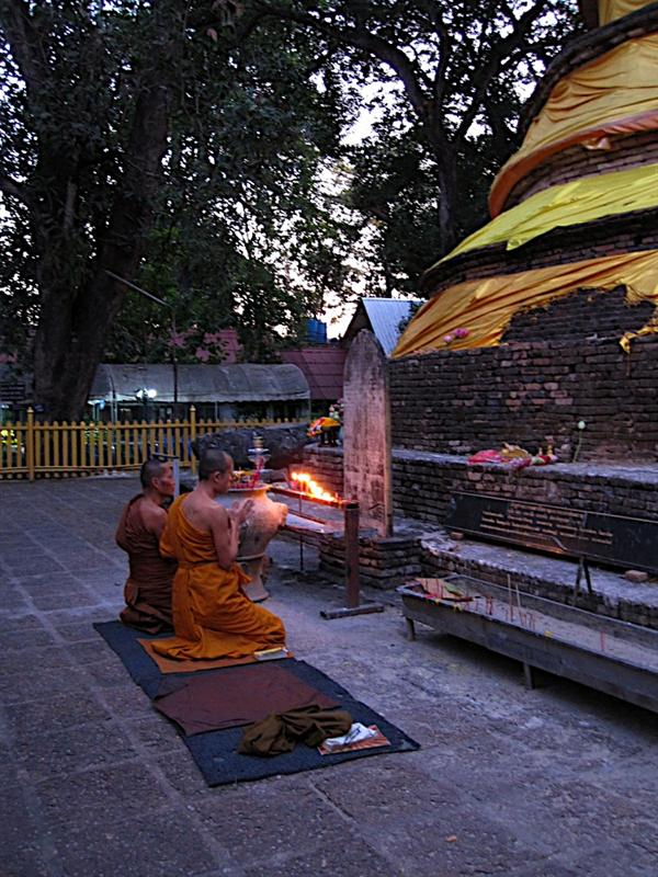 Monks praying on Buddha Day, or Holy Day.