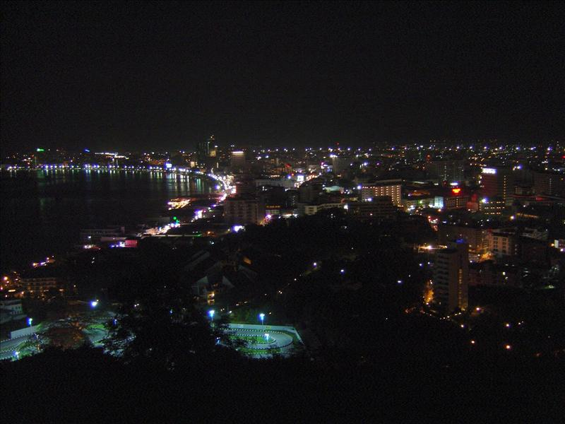 city's night view from the top of mountain