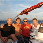 Stephen, Guido, Gunter and Bill sailing into Palma after a nice sail south from Barcelona