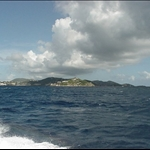 On a speedboat heading for Virgin Gorda