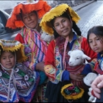 Beautiful Inca family with their pets.
