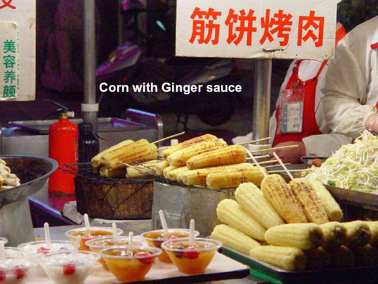 corn with ginger sauce