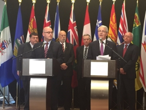 Ontario Transportation Minister Steven Del Duca and Federal Transportation Minister Marc Garneau take questions following joint meeting.
