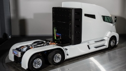 Power comes from a fully electric drivetrain powered by high-density lithium batteries.