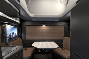 Freightliner's new Cascadia can be spec'd with a dinette that will transform into a murphy bed in about 10 seconds. (Freightliner photo)
