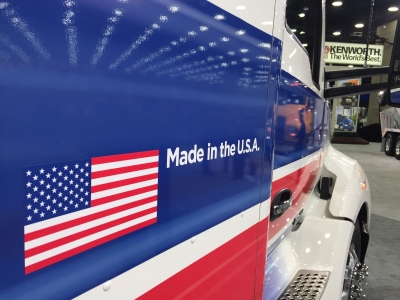 Executives with PACCAR's Kenworth and Peterbilt brands were both highlighting investments in U.S. manufacturing.