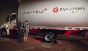 Fanshawe President Peter Devlin with Hino Motors Canada President, Yumiko Kawamura. Hino Motors donated the truck to Fanshawe on Wednesday evening. (Photo: John Sing, Fanshawe College)