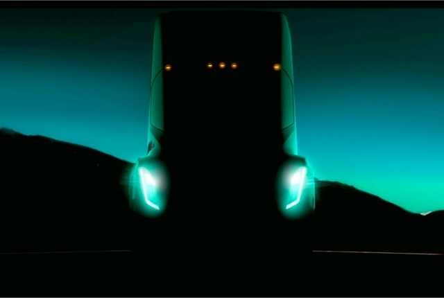 An sneak peek at the Tesla Electric Semi. (source: Twitter)