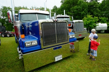 Phil Langevin's spiffy Western Star with its gleaming stainless-steel bunk